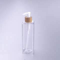 350ML transparent square pet bottle with bamboo pump shampoo bottle