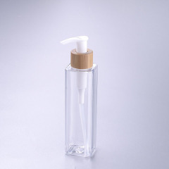 200ml square clear pet bottle with bamboo pump