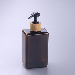 280ml brown square pet bottle with bamboo pump