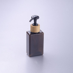 150ml brown square pet bottle with bamboo pump cosmetic bottle