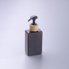 100ml brown square pet bottle with bamboo pump