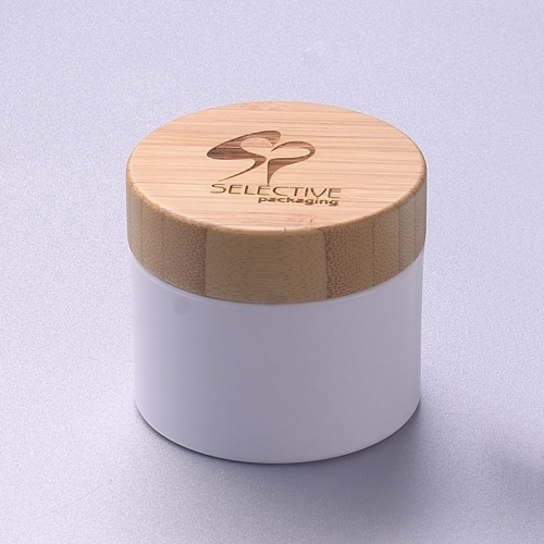 50g white pp jar with bamboo lid