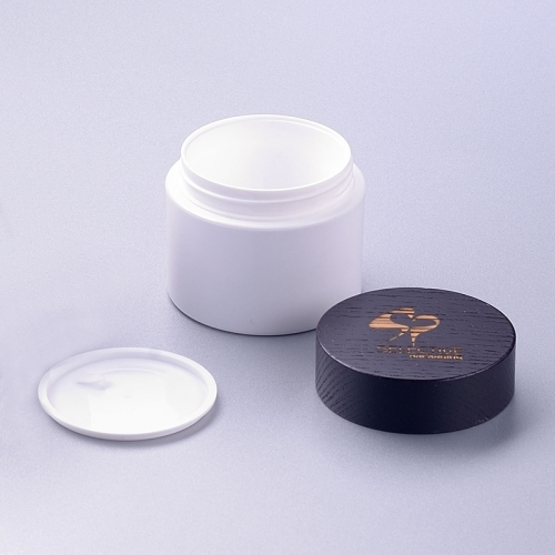 50g white pp jar with wooden cap cream jar
