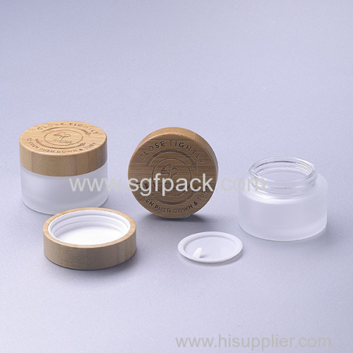 50g frosted glass cream jar with child resistant cap