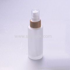 50ml frosted glass bottle with bamboo pump