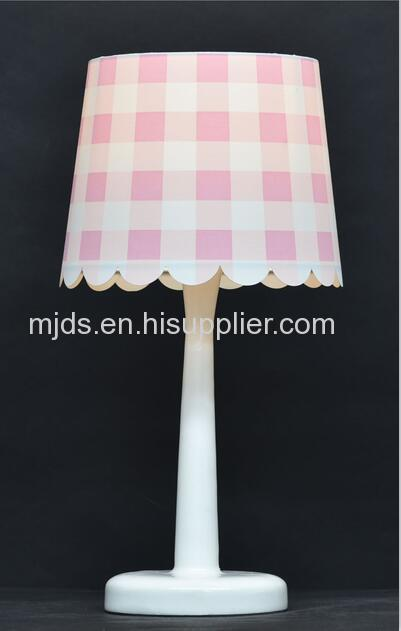 Gingham Shade Kids Table Lamp For Girl's Studyroom/Bedroom