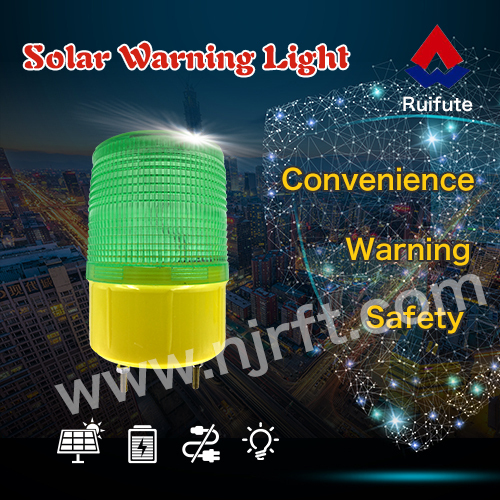 Green wireless road safety solar warning light