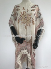 viscose paisley printed poncho with cotton lace tape