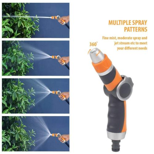 2-pattern metal garden water nozzle with thumb valve