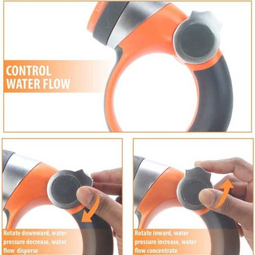 Garden water nozzle with thumb valve