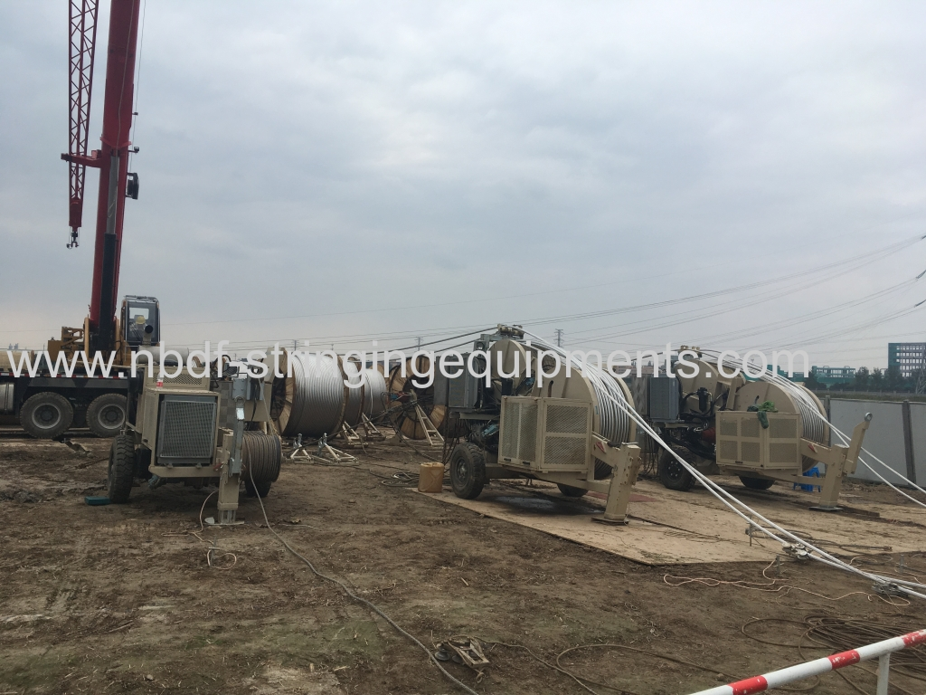 Overhead Tension Stringing Equipment pulling four conductors on 500KV transmission line