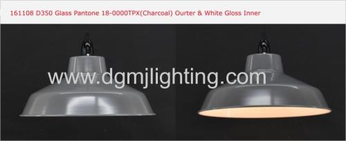 D355mm Metal Pendant Shade Finish Charcoal / Grey / Cream Outer & White Gloss Inner