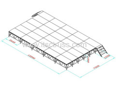 Movable stage system for lighting truss roof