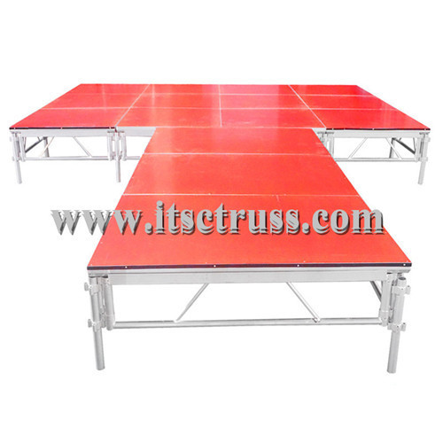 Adjustable stage platform for runway
