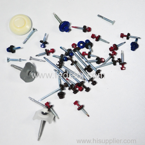 painted hexagonal self drilling screw