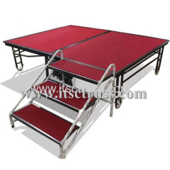 Folding stage for hotel rental