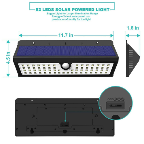 62LED Solar Wall Mounted LED light with motion sensor 700-800 Lumens