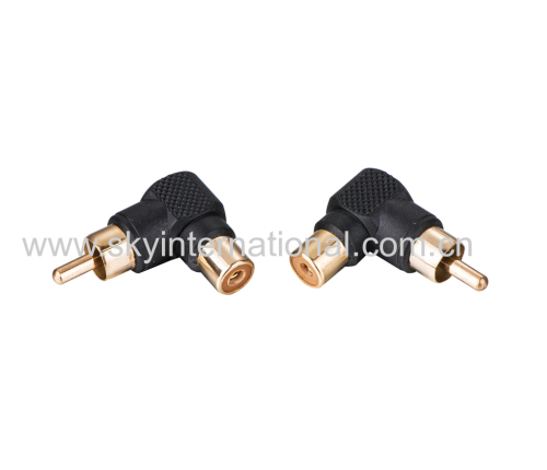 RCA Female To Male Aux Adapter Right angled Gold Plated