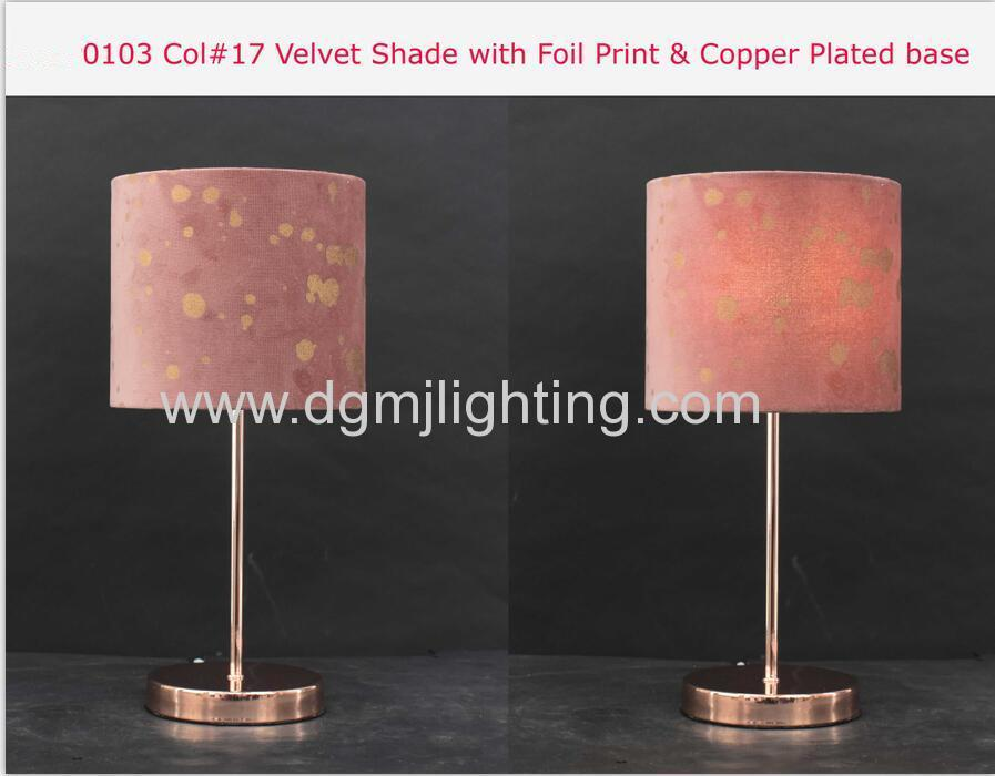 Velvet Shade With Foll Print & Copper Plated Base