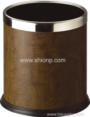 Tan color leather coated dustbin