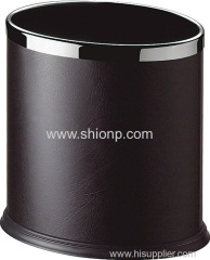 Oval shape leather coated waste bin
