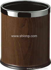 Dark brown waste bin for hotel use