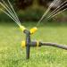 Plastic 2 arm garden rotating sprinkler with spike