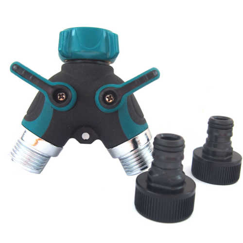Metal 2 way garden hose splitter with valve