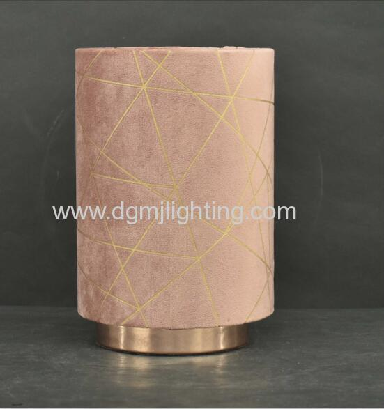 French velvet with rose gold foil print pad lamp dusty pink