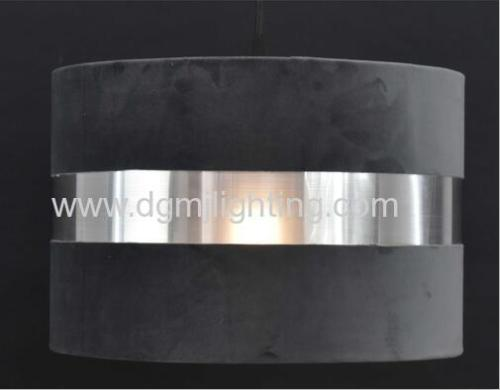 Dark Grey Velvet Shade With Silver Brushed PVC D300MM*H200MM