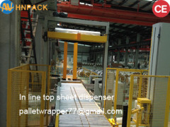 hennopack fully automatic inline pallet top foil cover applicator machine