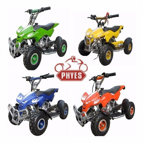 phyes mini atv 49cc with 4.10-4 atv wheels yamaha 2 stroke atv