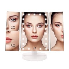 Tri-Fold Lighted Makeup Mirror With 21 LED Lights For Girls