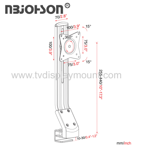 NBJOHSON Single 15 -27  LCD Monitor and Screens Adjustable Desk Ergonomic Mount - with Tilt and Rotate Function (GSM01)
