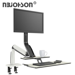 Height Adjustable Dual Monitor Mount Mechanical Spring Arm with Keyboard