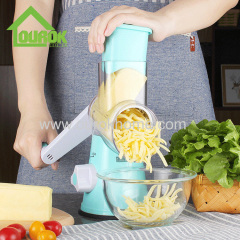 Ourok manual round multi vegetable cutter onion carrot potato slicer nut cheese grater with 3 stainless steel blades