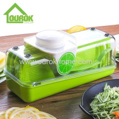 Plastic adjustable mandoline vegetable and fruit chopper slicer and cutter with container for home use