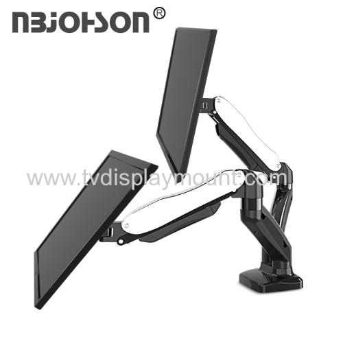 Ergonomic Full Motion Swivel Monitor Mount with Dual Gas Spring LCD Arm