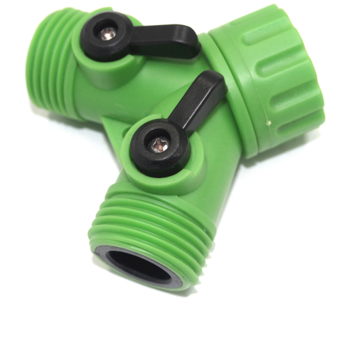 Plastic Garden Y tap connector with separate ball valve