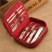 Gold plating mens manicure set ladies manicure french manicure pedicure kit nail kit leather manicure kit