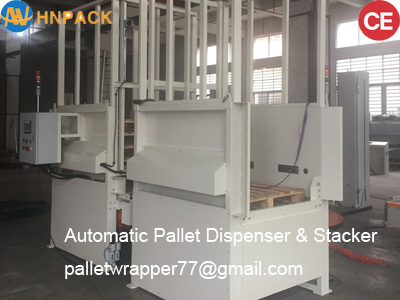 Full automatic heavy duty wooden plastic steel pallet stacker dispenser supply machine