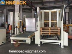 for robotic palletizer system applicator hennopack empty pallet collector and stacker and dispenser machine