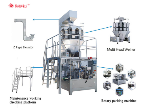 Zipper bag nuts rotary packing machine