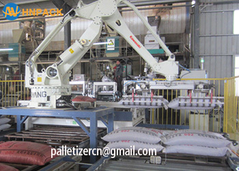 Hennopack Cement or metallic stearate bag packing robot automatic bag stacking machinery palletizer system
