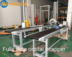 Hennopack fully automatic in line pallet top sheet dispenser machine for palletizer top film cover