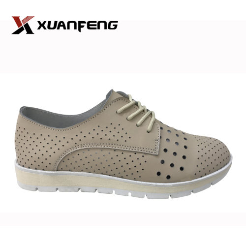 Lady fashion leather shoes punching genuine leather shoes manufacturer