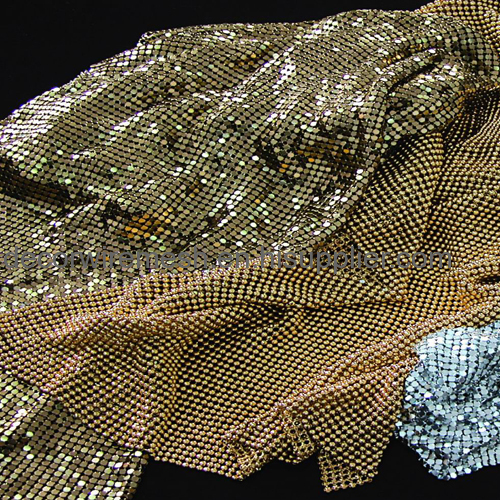 golden silver metal scale mesh