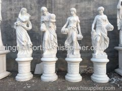 Beautiful hand carved marble four season statues