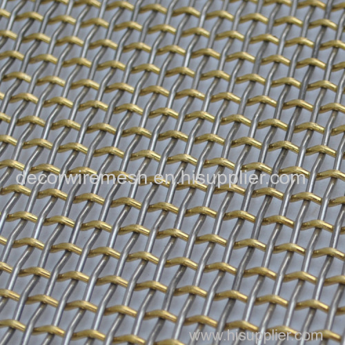 Brass and stainless steel crimped mesh for decoration fabric