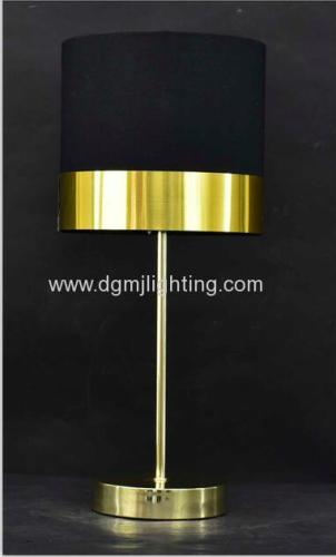 Metallic Gold PVC Banded Table Lamp Brass